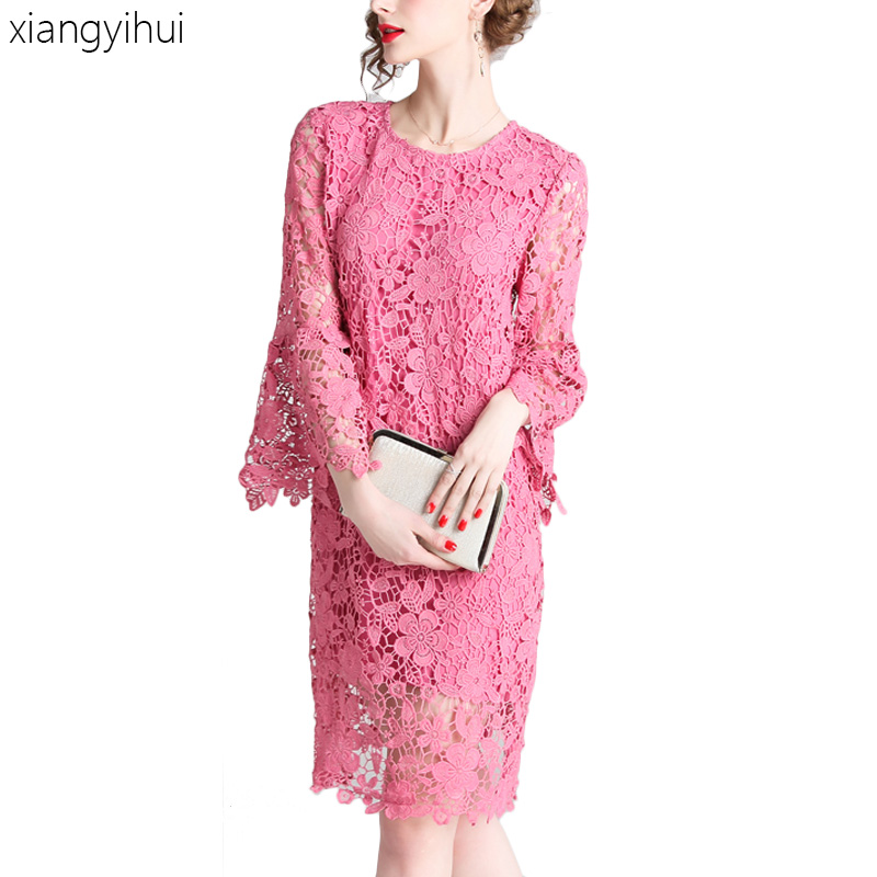 Sweat Girl Womens Pink Lace Dress with Flare Sleeve High Waist O neck Hollow Out Loose Dress Party Beach Dresses Knee Length