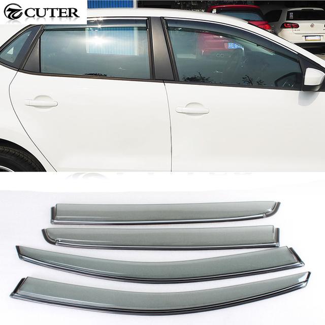 Venda quente UV e resistente a Impactos Acrílico MK6 Cromo 4D Janela lateral Cent Viseira Guarda Chuva para Volkswagen Golf6 MK6 10-13