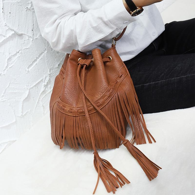 Fashion Ladies Hand Bag Solid Bucket Bolsa Feminina Tassel Leather Women Shoulder Bags Crossbody Bag For Women Luxury CJ484 4