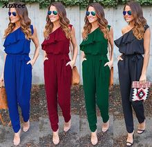 Summer Jumpsuit 2018 Women Red Black Flounce Bandage Chiffon Club Jumpsuits Fashion Bodycon Long Section