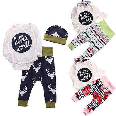 Newborn Infant Girl Boy long sleeve Romper Floral Deer Pants Baby Coming Home Outfits Set Clothes 3pcs set newborn infant baby boy girl clothes 2017 summer short sleeve leopard floral romper bodysuit headband shoes outfits