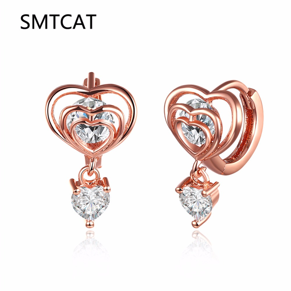 ad2714170 Detail Feedback Questions about SMTCAT Fashion Rose Gold Color White Zircon  Heart Small Hoop Earring for Baby child Girls Kid Cute Loop Huggies Earring  ...