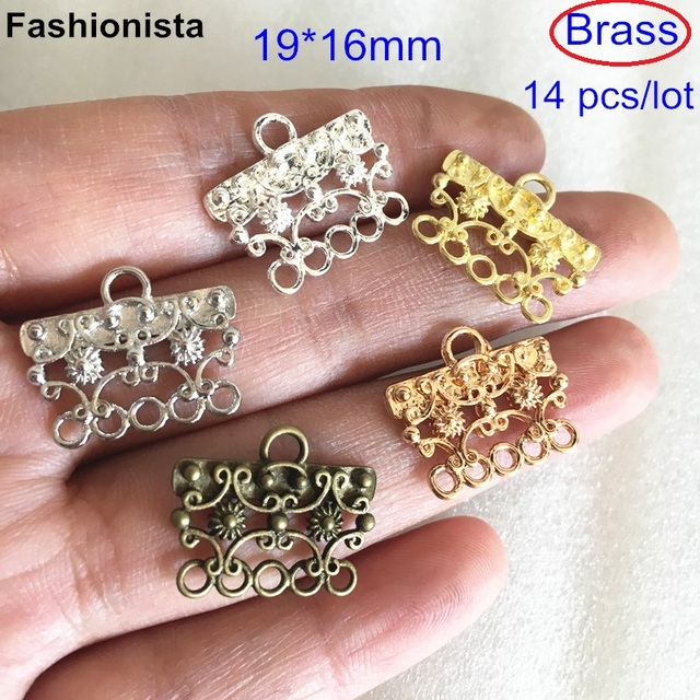 US $13 8 |14 pcs Brass Jewelry Connectors 19*16mm Brass Casting Connectors  With 6 Loop,Five to one Chandelier Connectors,DIY Supplies-in Jewelry