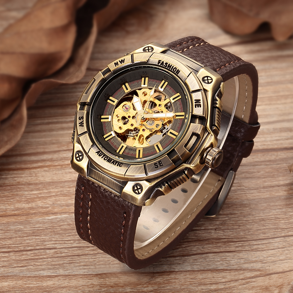 Relogio Masculino SHENHUA Retro Bronze Skeleton Mechanical Watch Men Automatic Watches Sport Luxury Top Brand Leather Watch shenhua automatic mechanical tourbillon watches men top brand luxury leather band transparent skeleton watch relogio masculino