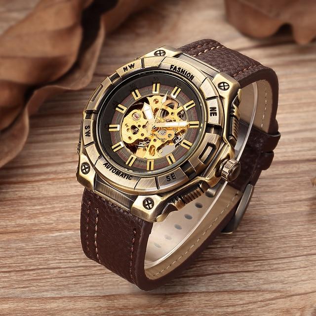 bcef71f7217 Relogio masculino SHENHUA Retro Bronze Skeleton Mechanical Assista Homens  Relógios Automáticos Dos Homens Do Esporte de