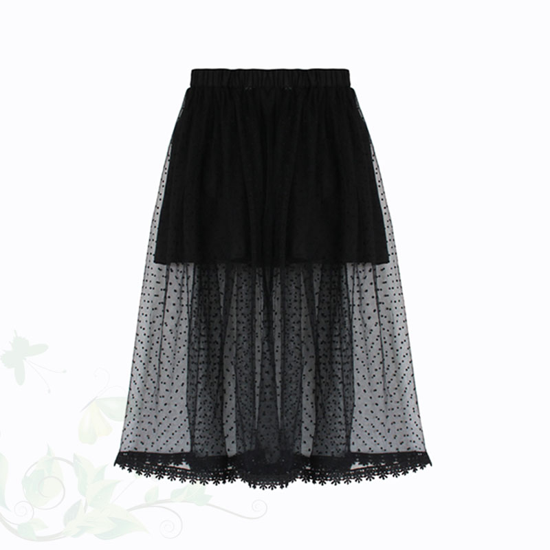 0 14T Children Kids Girls Black White Polka Dot Long Lace Skirt Cotton Lining Princess Soft Tulle Tutu Skirts Wedding Costume in Skirts from Mother Kids