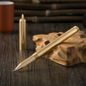 Luksusowy złoty mosiężny długopis ręcznie EDC długopis żelowy może być przykręcony na beczce papiernicze artykuły biurowe szkolne