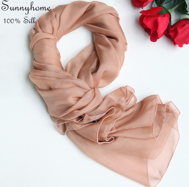 Multifunctional Headwear 100% Scarf Women Silk Newborn Wrap Pink Soft Chiffon Think Scarves and Shawls Summer Beach Pashmina