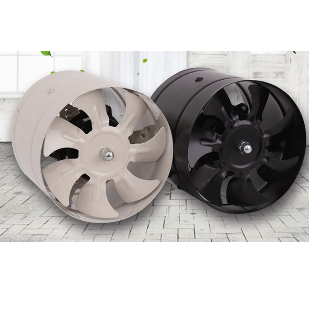 8'' Inline Duct Fan Booster Exhaust Blower Air Cooling Vent Metal Fan for Kitchen Bathroom Meeting Room, Quiet Running
