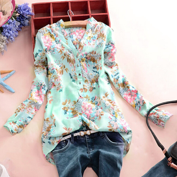 8c6bfe2f96c Summer Floral Printed Fresh Blouses Women Shirts Short Long Sleeve Stand  Collar Leisure Casual Loose OL Blouse Blusas Femininas-in Blouses   Shirts  from ...