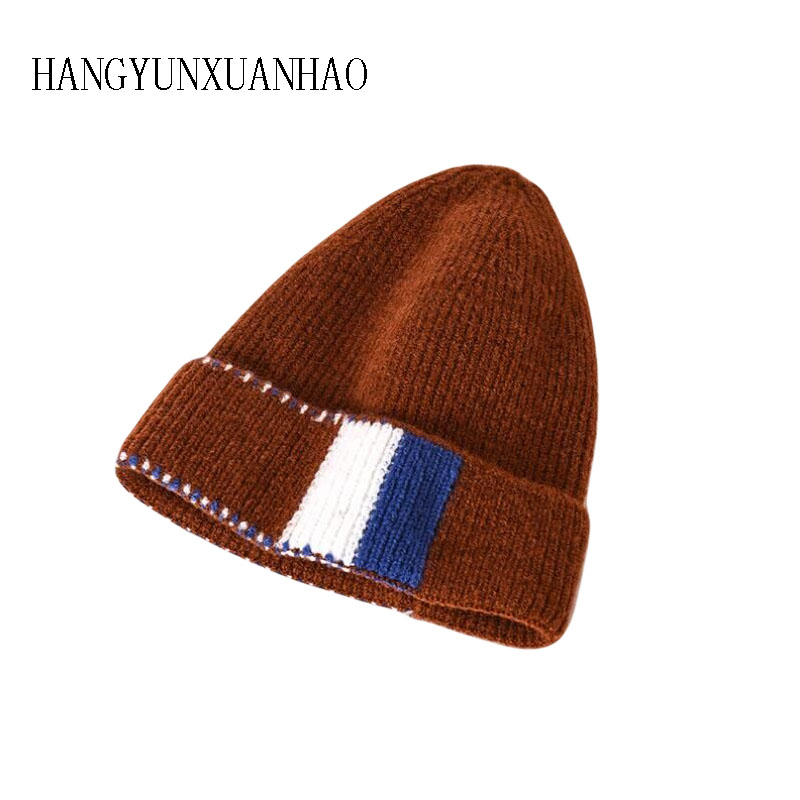 Women 39 s Splice Hats Knitted Wool Autumn Winter Casual High Quality Brand New 2019 Hot Sale Hat Female Skullies Beanies in Women 39 s Skullies amp Beanies from Apparel Accessories