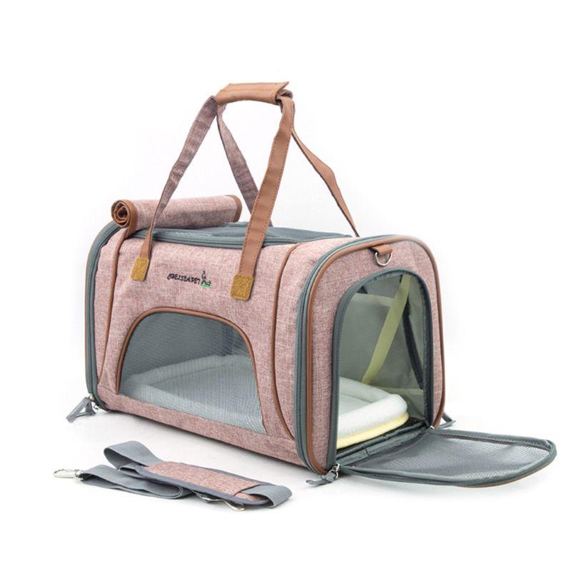 Good Quality Nylon Material Soft Sided Pet Carrier Floded Mesh Dog Cat Tote Handbag Shoulder Crossbody Bag