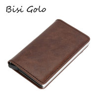 BISI GORO 2018 Women Men Credit Card Case Business Card Holder For Plastic Cards Purse Automatic