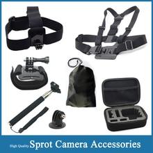 Acessórios Gopro Definir Capacete Cabeça Strap Mount Harness Belt Peito Monopé para eken h9 hero 5 4 sj4000 sj5000 sjcam xiaomi yi Cam