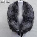 Nuevo 100% Cuello de Piel Natural, Anillo de Cuello de Piel de Zorro de Plata de Lujo bufanda 130 cm Genuino de Las Mujeres de Cuello de piel de Zorro para Abajo La Chaqueta Al Por Mayor