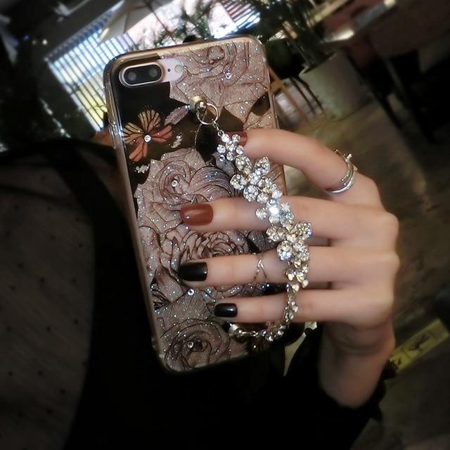 Luxury Cute Diamond Flower Rose Bracelet Cover Case For iPhone 6, 6s, 7, 8, 7/8 plus, X 4
