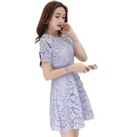 Mori Girl Blue Love Pink Lace Dress For Women Feminine Short Sleeve Elegant Ladies Summer Dress