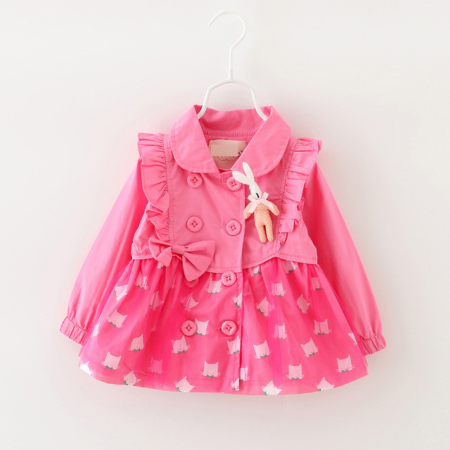 Retail Fashion spring autumn Girls trench Kids coat Double Breasted Children Outwear girls coat and jacket Baby Clothing  B0705