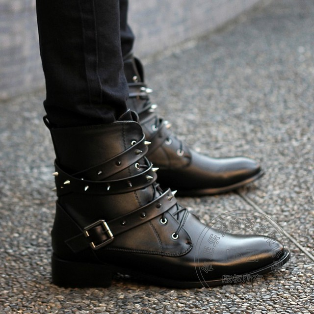 High Top Low Heeled Rivets Bandage 2016 Bright Patent Leather Boots Men Korean Version Ankle British Style Spring Autumn