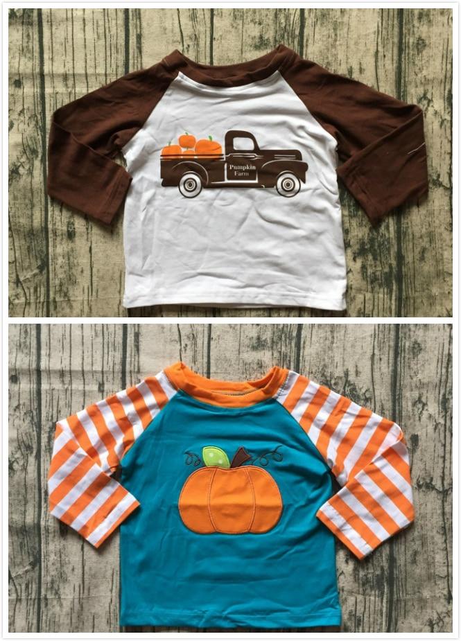 2 color acción otoño/invierno Bebé Ropa de los niños boutique algodón top camisetas raglans camionero calabaza granja raya nuevo