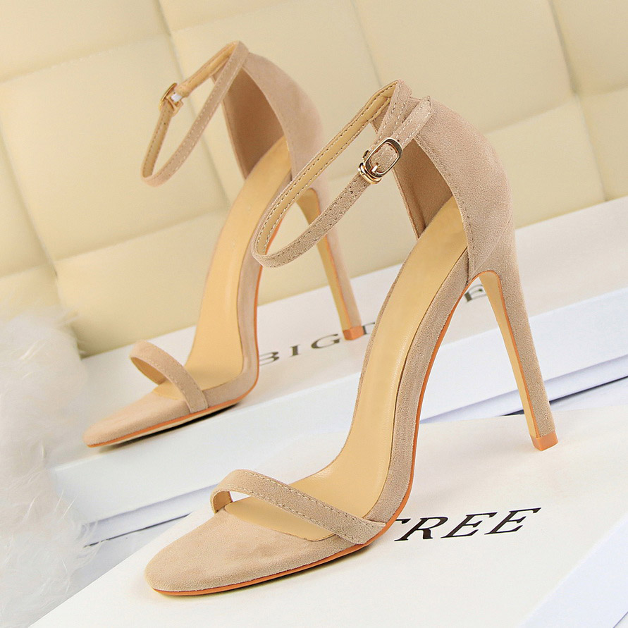 2019 Women Size 40 Flock Extreme 11cm High Heels Fetish Sandals Female Gladiator Cheap Strap Shoes Lady Nude Valentine Red Pumps