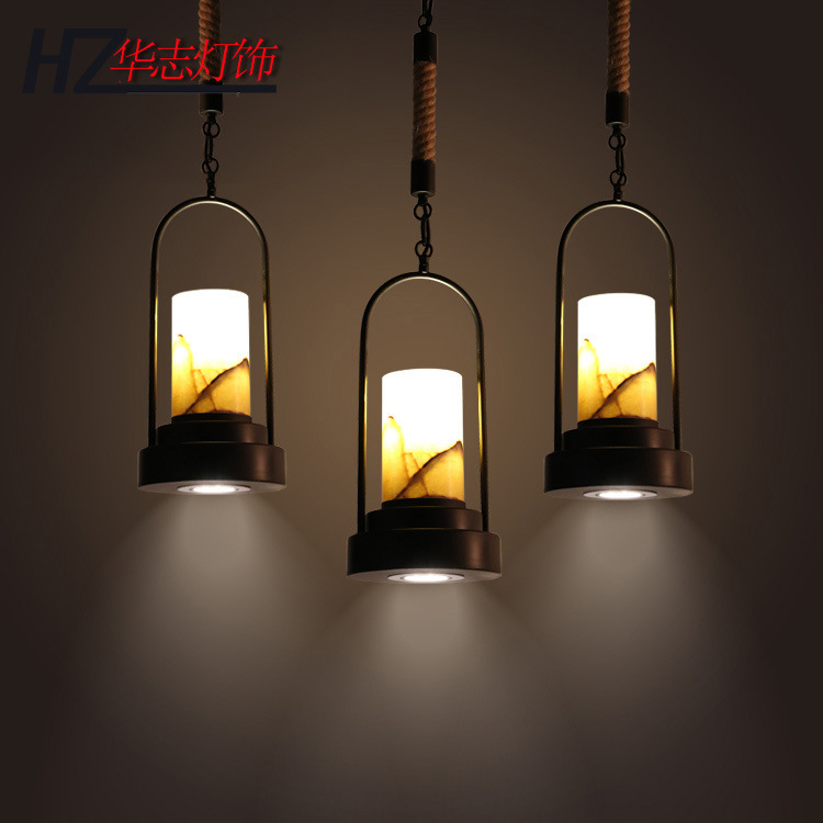 industrial wind pendant candlestick hot-pot restaurant cafe, wrought iron twine marble droplight Restoring ancient ways pendant lights iron 1 6 14 heads lamps retro industry rural industrial creative restoring ancient ways za10