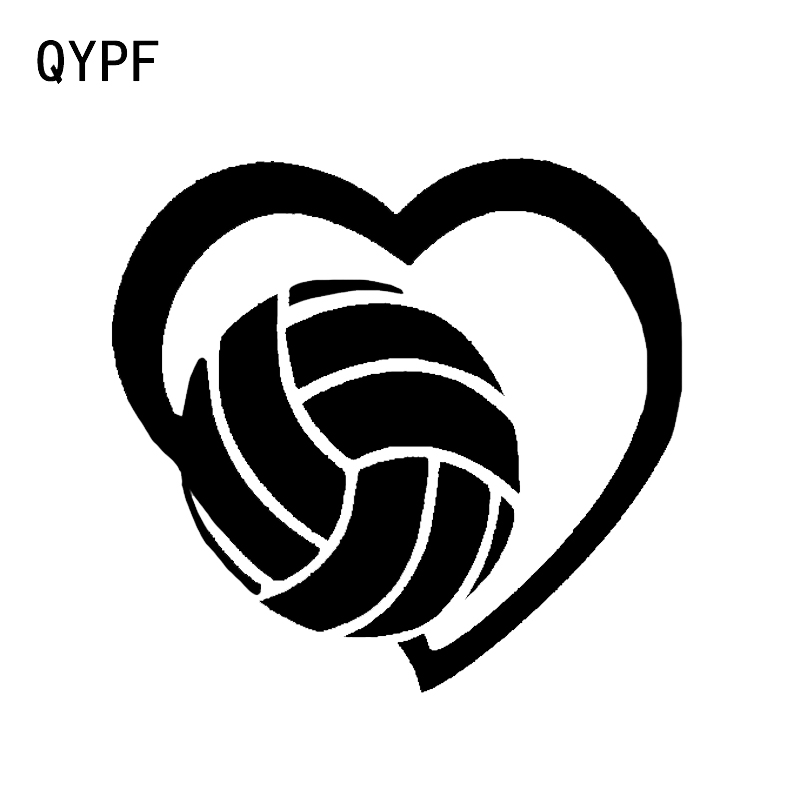 QYPF 13.4*12.6CM Lovely Sports Volleyball Decor Car Modelling Stickers Vinyl Accessories Motorcycle Decals C16-1442