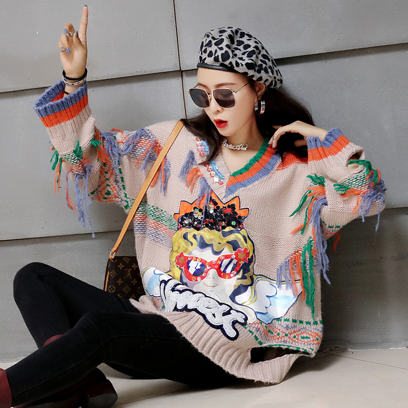 Automne Chandail Slim Et Hit Taille D'hiver Grande Nouvelle V Photo Corps 2018 Color Couleur Pull Col Manquant Inférieure Dames Femmes Lâche Cartoon dCUqn