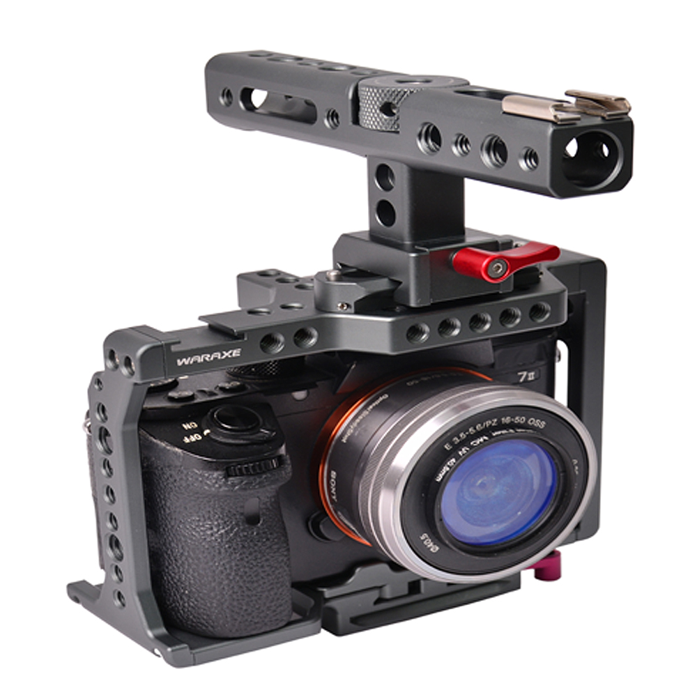 Aluminum Camera Cage for Sony A7II A7SII A7RII with Conversion Top Handle Grip