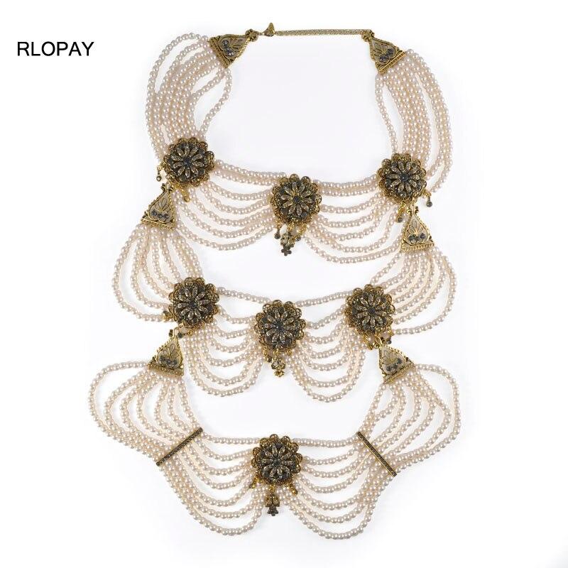 RLOPAY grand collier poire bijoux pendentif en cristal en plaqué or Antique nouveau Costume de mode bijoux pour femmes 2019 nouveau