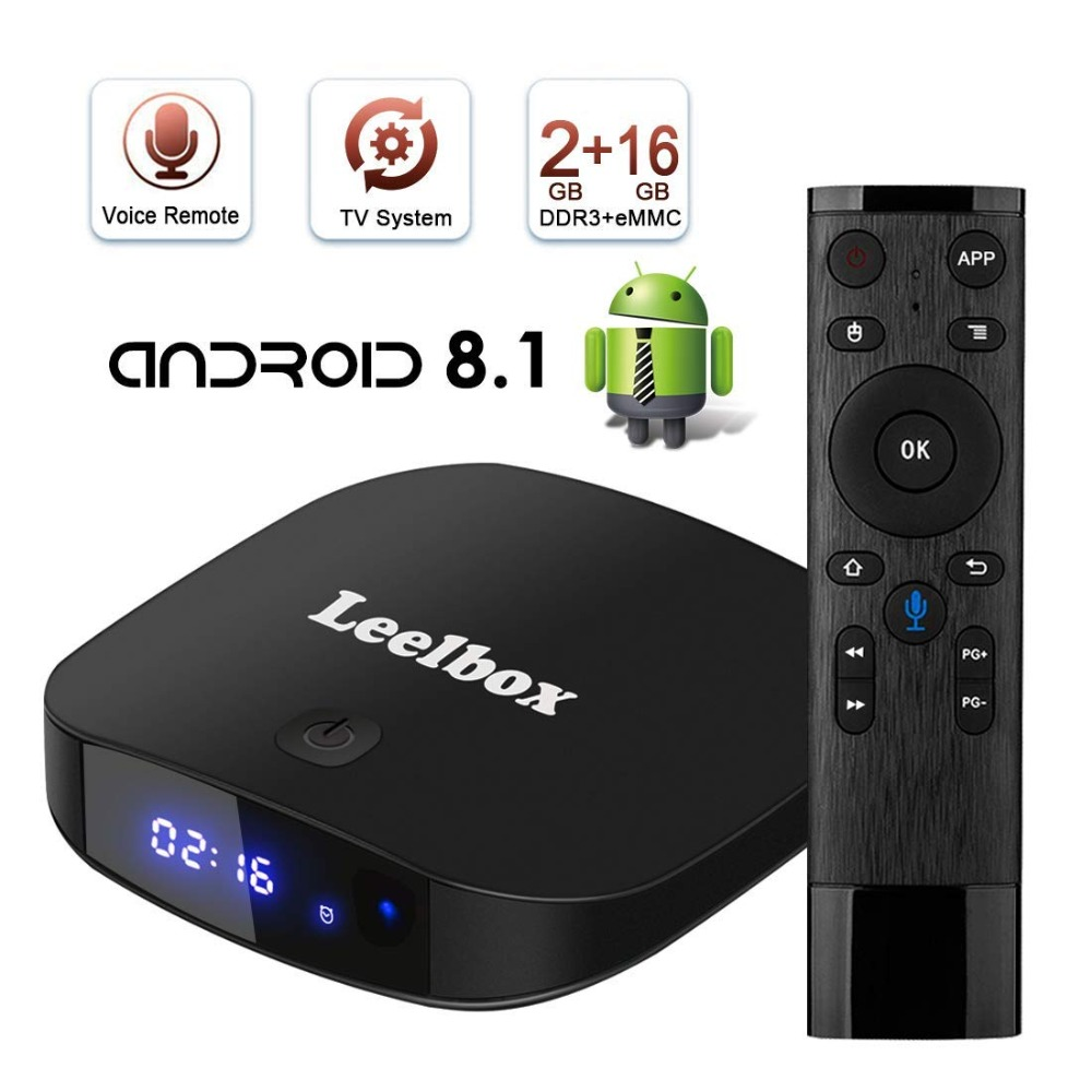 Leelbox Q2 Pro Android 8.1 TV Box con la Voce A Distanza 2 gb 16 gb ATV Sistema di BT 4.0 2.4 ghz wiFi Lettore Multimediale IPTV HD Android TV Box