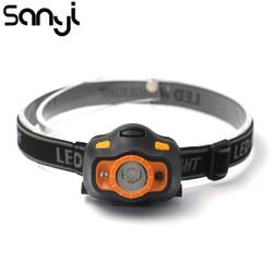 SANYI LED Body Motion Sensor Headlamp Inductive Mini Headlight 2 Switch Outdoor Camping Head Flashlight Torch Lamp Using 3*AAA