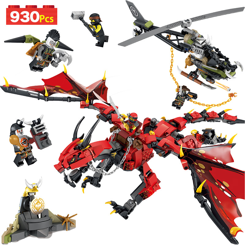 930PCS Movies Flame Spys God Dragon Building Blocks Compatible LegoINGlys Ninjago Knights Figures Arms Toys For Boys Gifts