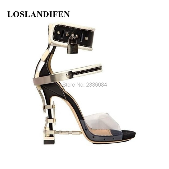 60443b4627d367 Luxury Rhinestone Cover Nail Heel Women Sexy Sandals PVC Patchwork Ankle  Buckles Ladies Unique Party High Heels Lock Side Shoes