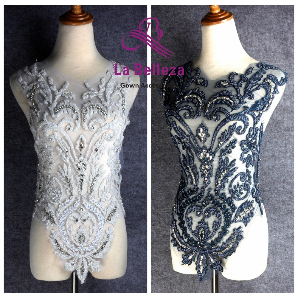 La Belleza beautiful large piece handmade pearls crystal Rhinestone patch wedding dress applique accessories