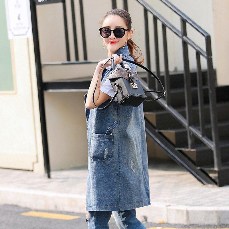 ee300e85c08621 2019 Summer Jacket Sleeveless Cardigan Ladies Jeans Waistcoats Long Denim  Vest Women Plus Size S 3XL -in Vests   Waistcoats from Women s Clothing on  ...