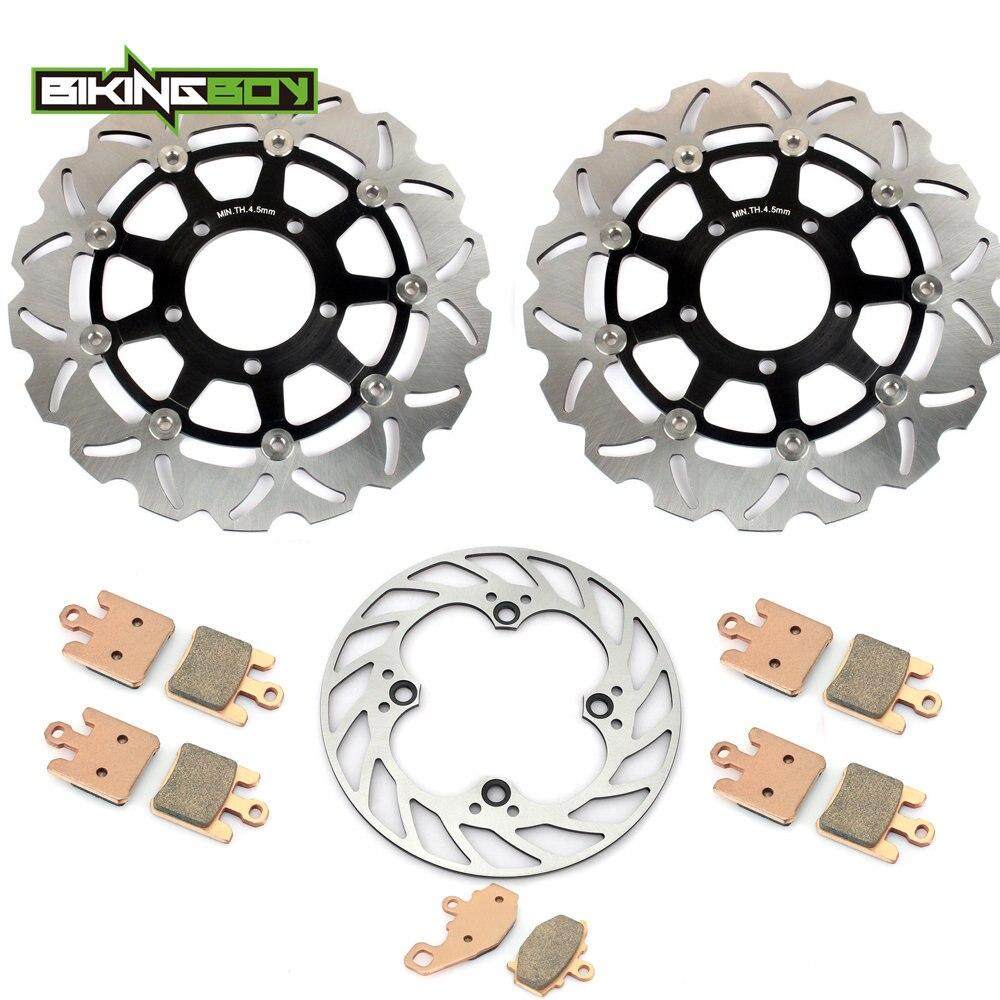 BIKINGBOY Front Rear Brake Discs Rotor Disks Pads for Kawasaki Ninja ZX10R ZX 10R 04 05