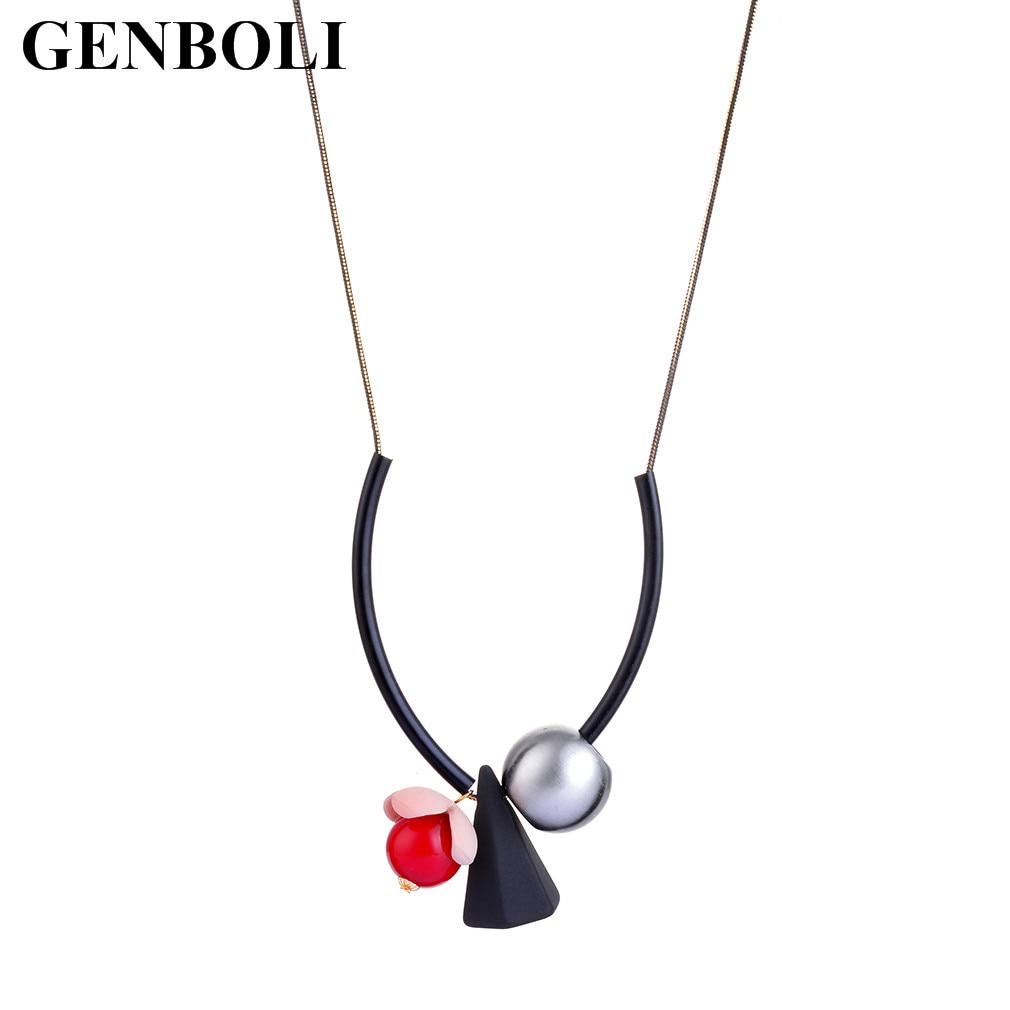 GENBOLI Simple Design Women Necklace Geometric Shape Sweater Necklace Clothes Party Club Ornament Necklace Hot