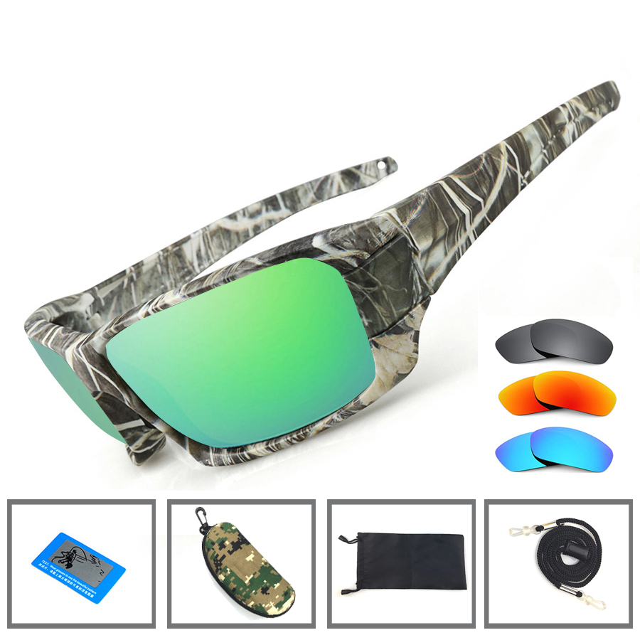 Newboler óculos de sol de pesca 4 polarizado lente uv camuflagem quadro das mulheres dos homens esporte óculos de sol campismo condução clipe eyewear