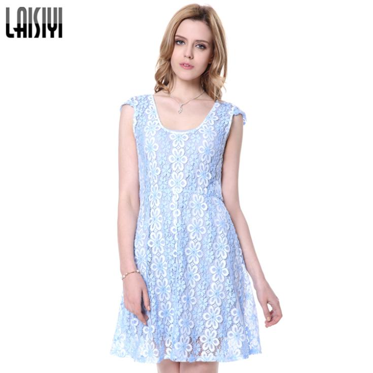 c60d3611bcf Laisiy Sexy Autumn Mini Dress Club Party Vestidos Short Sleeve Sky Blue  Women Flowers Lace Dress Vestido De Renda DR10084