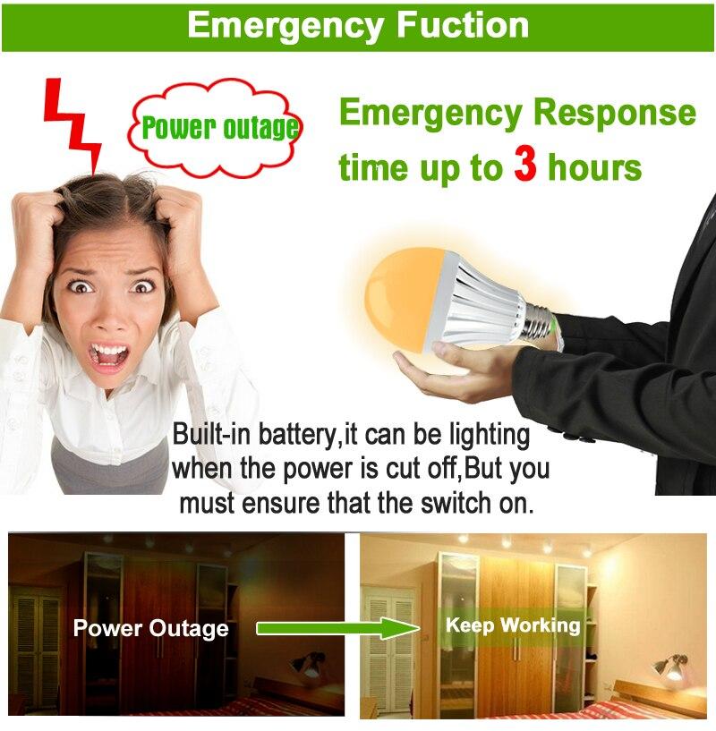 HOTOOK LED Արտակարգ լույս E27 7W 9W 12W Smart լամպ - Մասնագիտական լուսավորություն - Լուսանկար 5