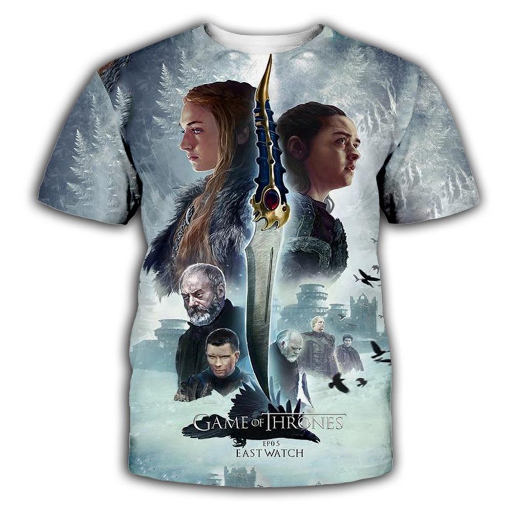 Fashion Game of Thrones 3D Print T-Shirt Women//Men/'s Casual Short Sleeve
