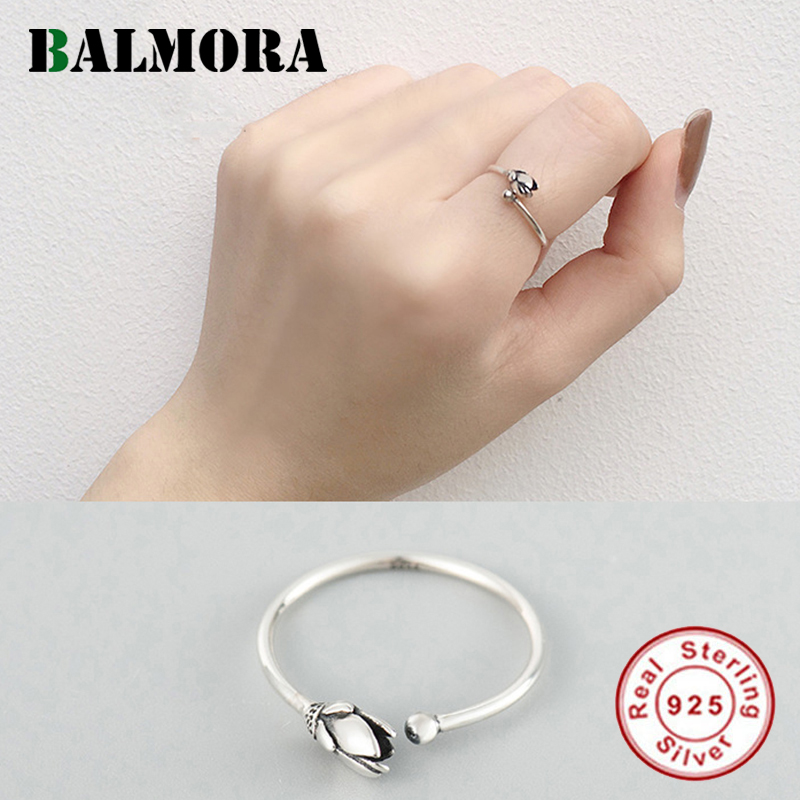 BALMORA 925 Sterling Silver Simple Lotus Flower Open Stacking Rings For Women Lover Gift Elegant Retro Fashion Jewelry Anillos