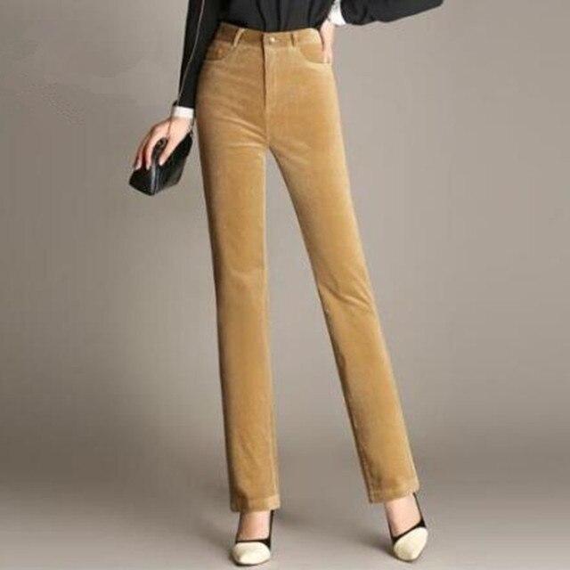 Estremamente Donna Autunno Inverno Pantaloni Dritti A Vita Alta Più Il Formato  JZ26