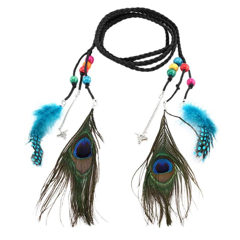 Women Fashion Elastic Black Wide Stretch Belt Flower Peacock Feather Size S M