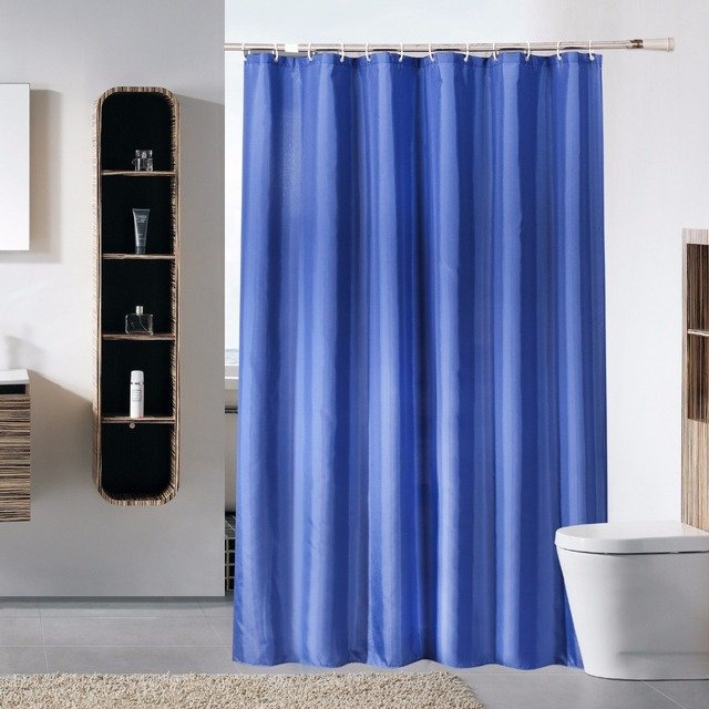 Navy Blue Polyester Shower Curtain Cameo Solid Bath Scenery Waterproof Mould Proof Bathroom Cortina De