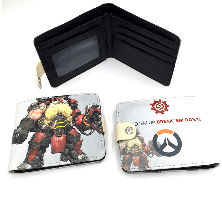 Hot OW fans wallet OW character GENJI DVA MCCREE hanzo mercy printing wallet gift for gamers game fans gift P074 new patterns game genji ow metal weapons zinc alloy exquisite darts rotatable ninjia professional cosplay props kids gift in box
