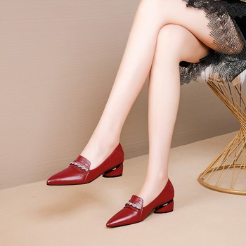 MLJUESE 2020 women pumps cow leather autumn spring red color chains pointed toe high heels lady shoes party wedding size 34-40
