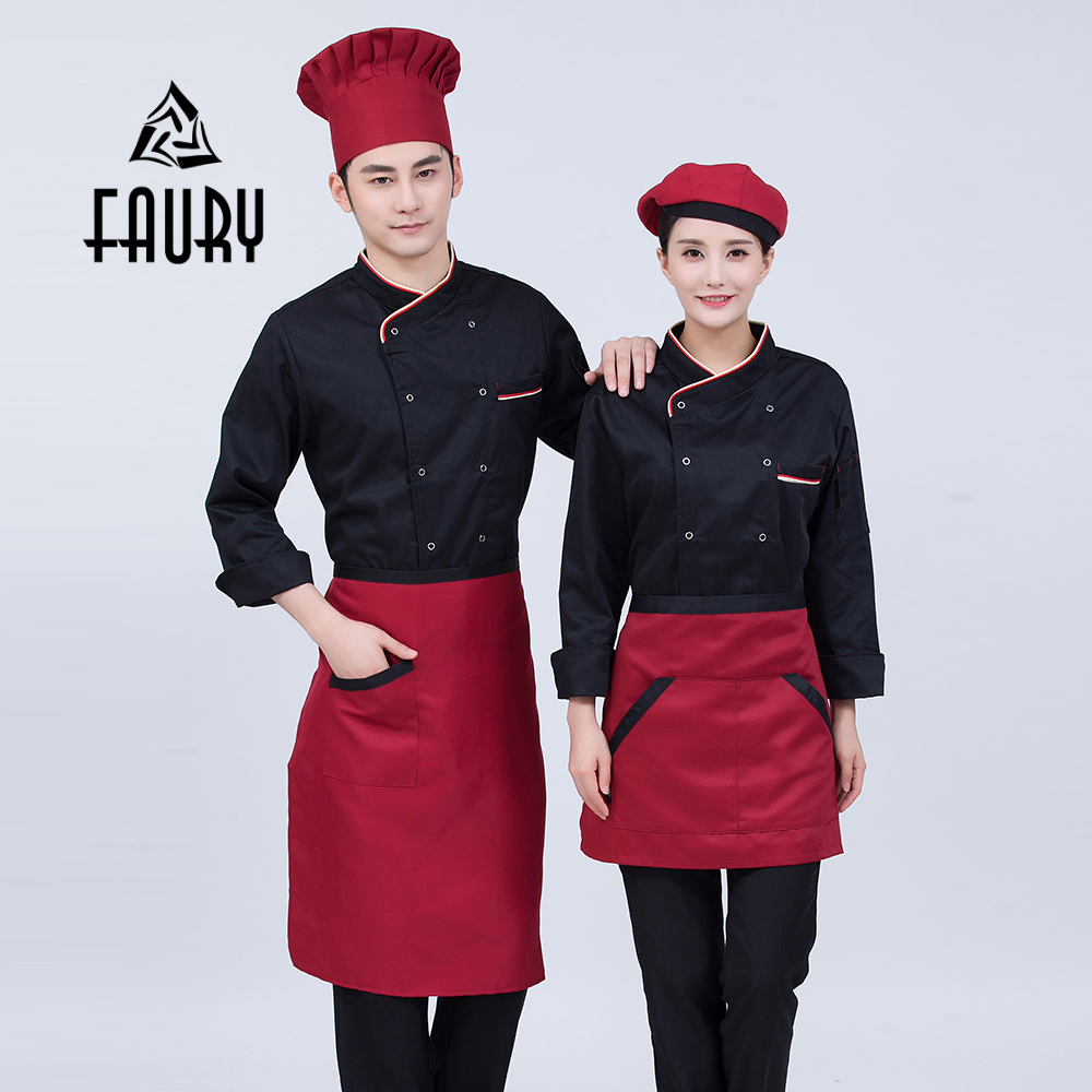 Men Women Long Sleeve Restaurant Work Uniform Cozinha Chef Jacket Tops Red White Black Sushi Chef Coats Kitchen Cooking Clothing