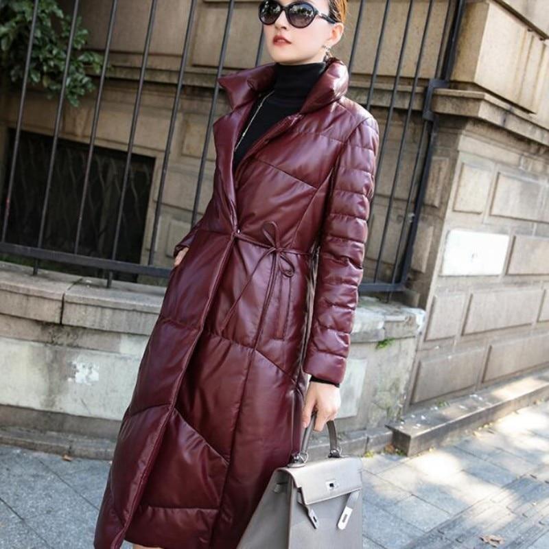 High Quality Brand Women Long Jacket Fashion Solid Belt Genuine Leather Down Jacket Female Streetwear Slim Fit Outerwear M-3XL